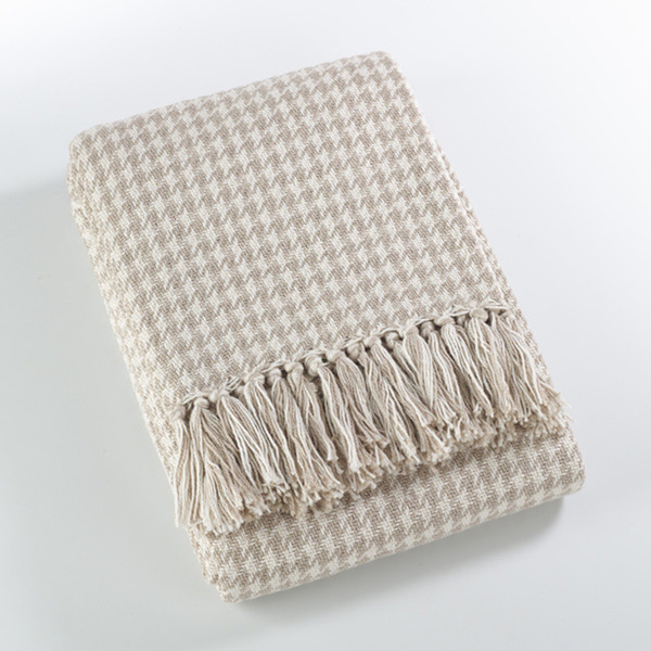 Fennco Styles Sevan Collection Soft Cotton Houndstooth Throw Blanket