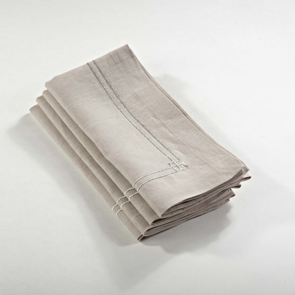 Fennco Styles Kaitlyn Embroidered Design Napkin -3 Colors - Set of 4