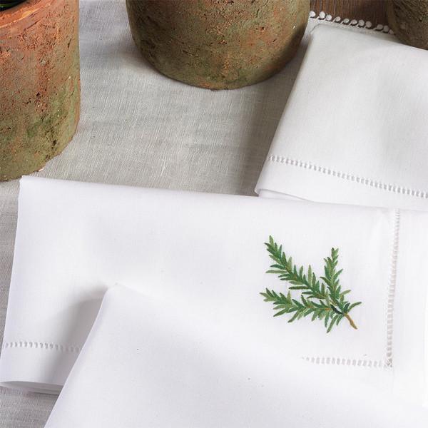 "Fennco Styles Embroidered Hemstitched Trim Border Cotton Napkin 20"" Square - Set of 4"