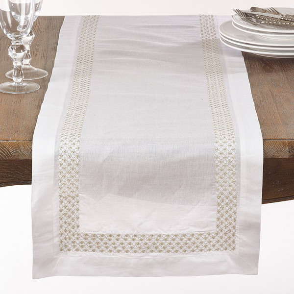 """Fennco Styles Metallic Embroidered Dots Design Table Runner-16""""x72"""""""