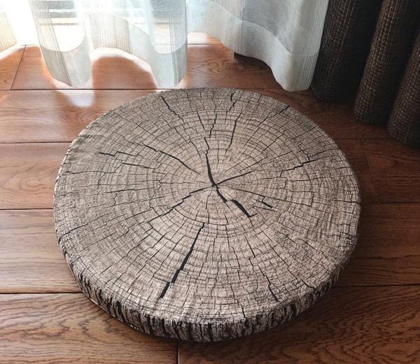 "3D Wood Print Creative Pillow Seat Cushion, Many Uses, 15"" Round-4 Designs"