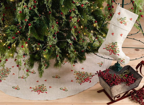 "Fennco Styles Embroidered Holly Design Decorative Linen Blend Christmas Tree Skirt (56"" Round Tree Skirt)"