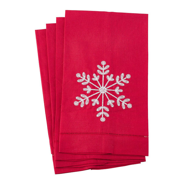 """Fennco Styles Embroidered Snowflake Hemstitched Linen Cotton Guest Towel 14""""x22"""" - Set of 4"""