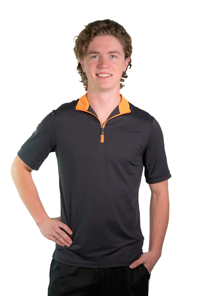 Henrik Men's UV Short Sleeve Shirt Black with Orange Trim
