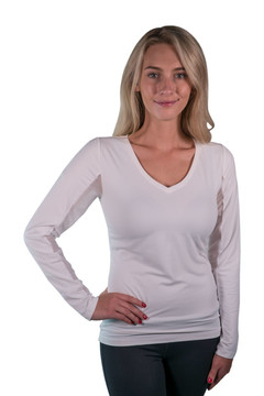 Charlotte Basics Collection Long Sleeve V-Neck White with WhiteTrim