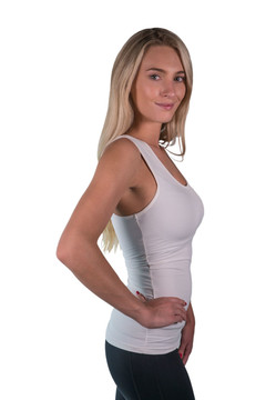 Charlotte Basics Collection Tank Top White with White Trim