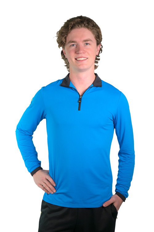 Henrik Men's UV Long Sleeve Shirt Royal Blue with Black Trim