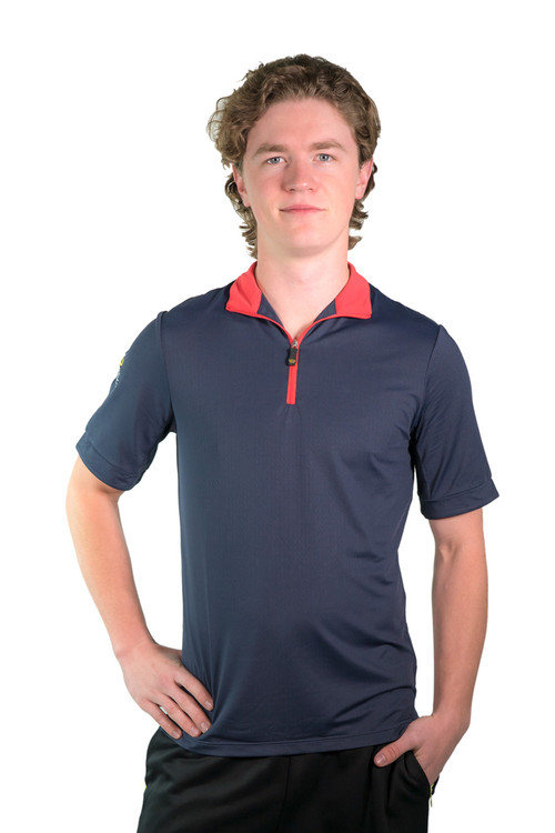 Henrik Men's UV Short Sleeve Shirt Navy with Red Trim