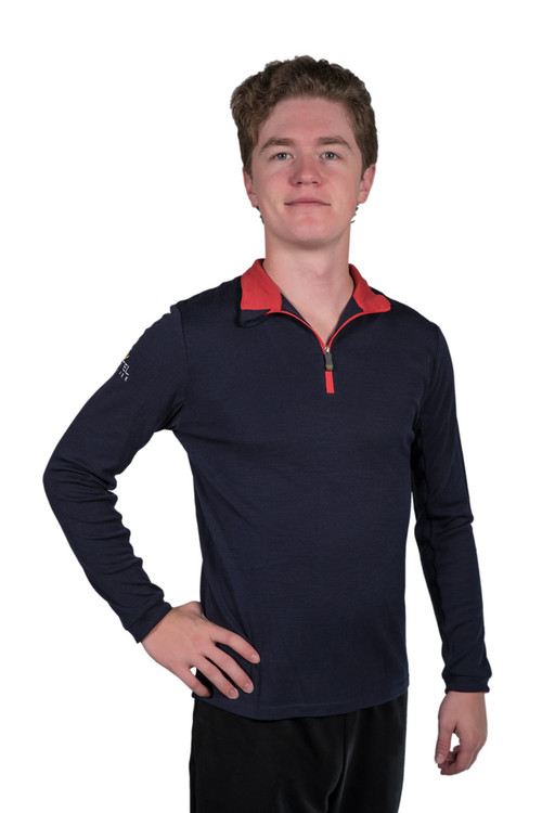 Henrik Men's Merino Wool Collection Navy with Red Trim
