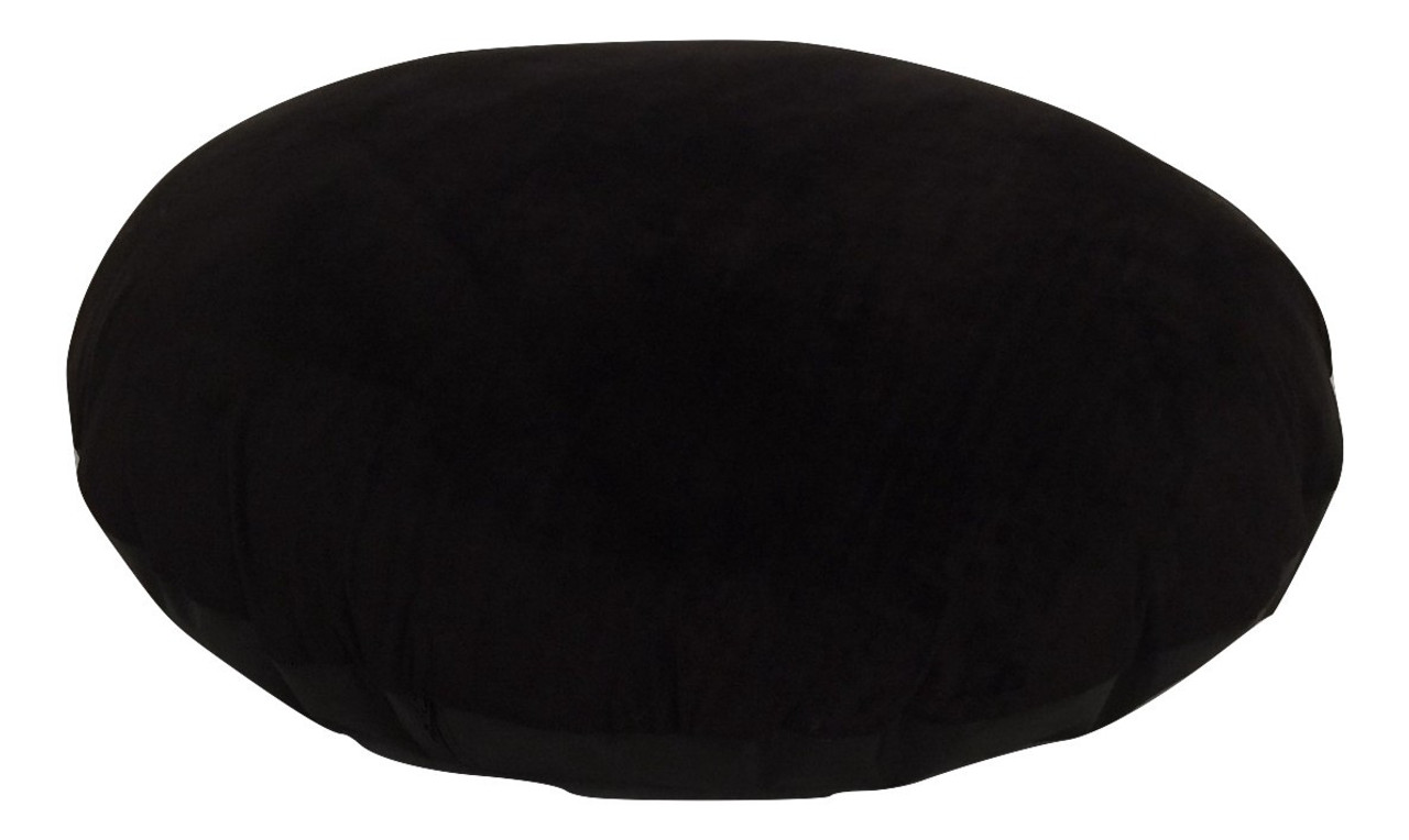 Black Velour Large Round Floor Cushions Zip Off Cover + Insert ...