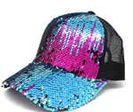 Sequin Mesh Back High Ponytail Ball Cap  CC Beanie