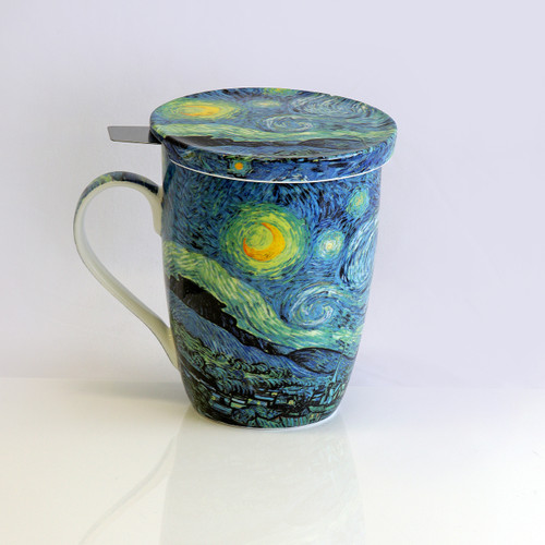 Van Gogh Starry Night Tea Mug W/Infuser and Lid