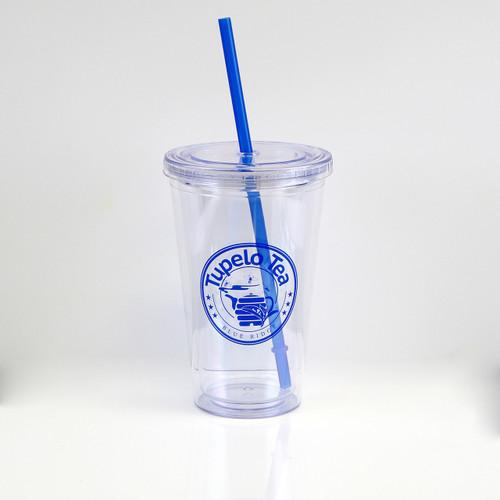 16oz cold/hot Tupelo Tea Tumbler. blue.