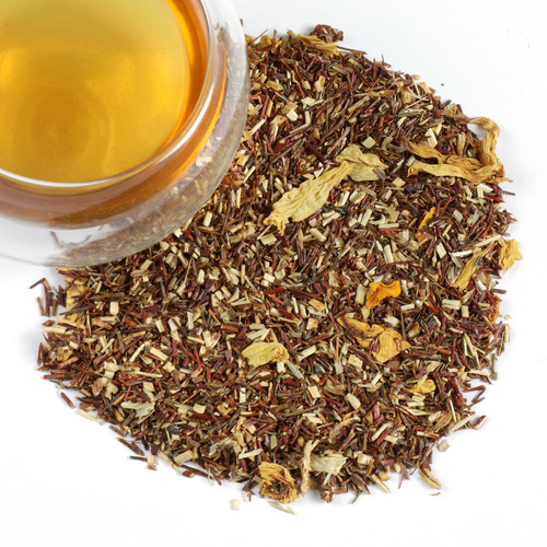 Our Rooibos Strawberry Dream, a sweetly flavored caffeine free tea, will delight the senses. This organic green rooibos tea blend evokes images of eating freshly picked strawberries in a meadow of sunflowers.  The strawberry pairs well with the mellow flavor of the rooibos. Perfect choice for a refreshing ice tea on a summer day.