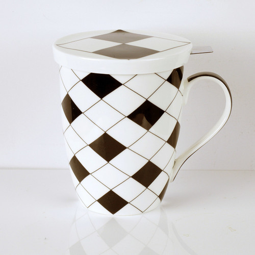 Criss Cross Tea Mug w/ Infuser and Lid