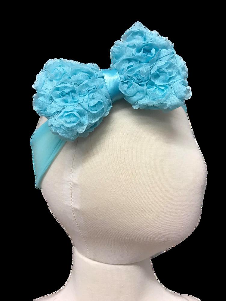 Sheer Headband w/ Shabby Rose Bow