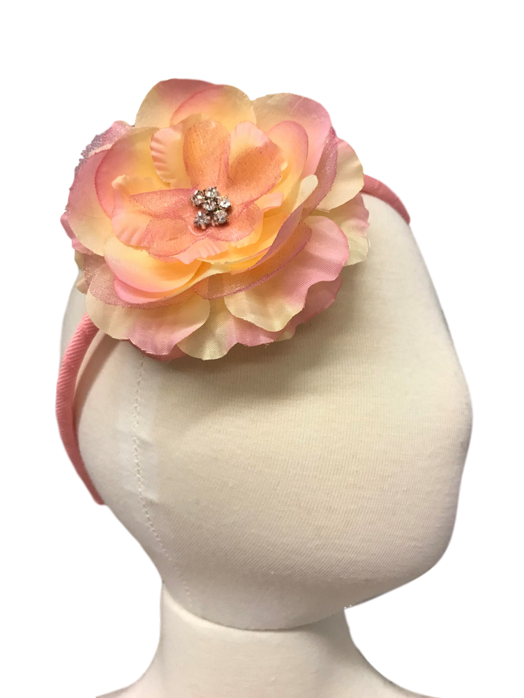 Skinny Headband with Precious Petal Flower on Head Form