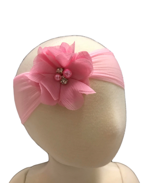 "Made with a super soft Sheer nylon band and adorned with a pearled sweetheart flower, the sheer hose headband is perfect for the little girl who is still waiting for her hair to come in! Overall width is approximately 4 1/2"", comfortably stretches to approximately 7"".  Flower and headband match, unless otherwise requested.  Perfect for newborns and infants."