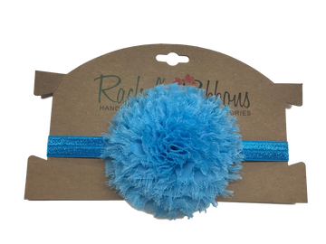 "Our soft and puffy Giant Shabby Flower is attached to a 5/8"" width Satin Stretch Headband.  Overall width is approximately 6"", comfortably stretches to approximately 9"".  Flower and headband match, unless otherwise requested.  Perfect for newborn through toddler."