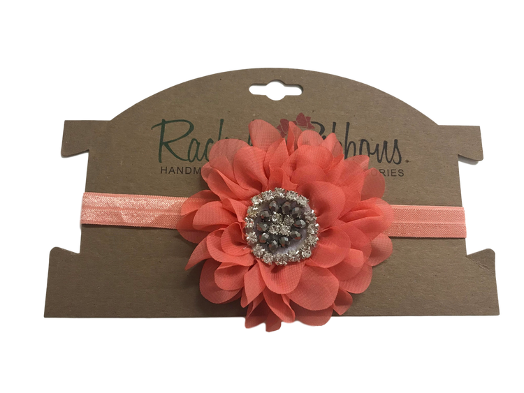 Satin Stretch Headband w/ Jewel Peony