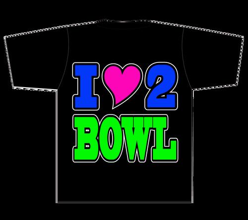 I Heart 2 Bowl T-Shirt - (OVERSTOCK)