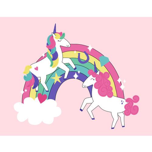 "Dancing Unicorn On Rainbow Poster 46""x36"""