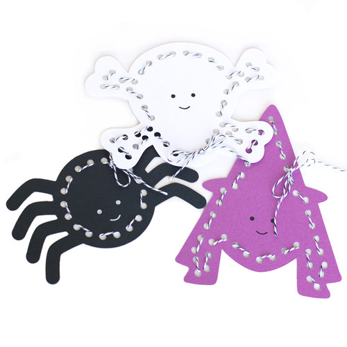 Witch, Spider, and Skull Lace up Cards