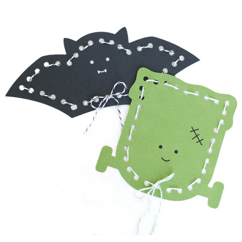 Bat and Frankenstein Lace up Cards