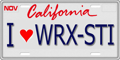 1/10 SCALE LICENSE PLATE FOR RC CAR * I LOVE WRX STI * Subaru Sti Drift
