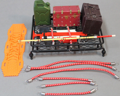 RC Scale Accessories ROOF RACK W/Scale Tools, Fishing, Cargo, Camping,Trail