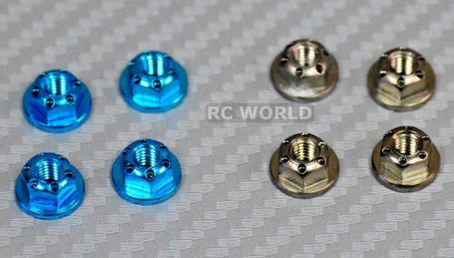 RC 1/10 Scale Anodized Aluminum WHEEL M4 Center NUT CAP -8 pcs- BLUE + GUN METAL