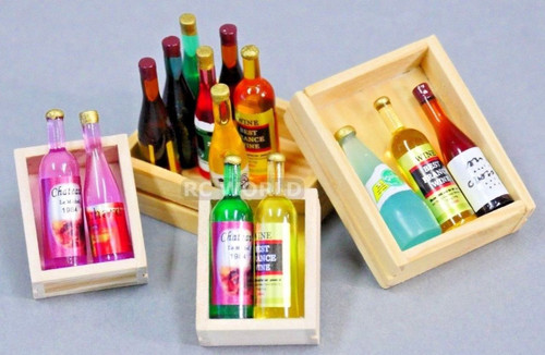 RC 1/10 Scale Accessories WOOD CASE BOX CRATE ALCOHOL, WINE, SPIRITS Set