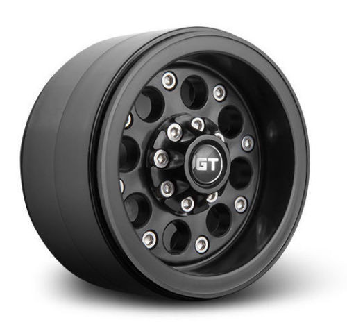 RC 1/10 TRUCK Rims Wheels 2.2 BEADLOCK Rock Crawler Wheels GT02 (2 RIMS) Black