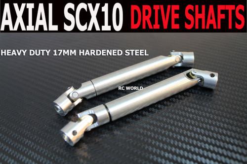 Axial SCX10 Jeep, Honcho HEAVY DUTY Hardened STEEL DRIVE SHAFTS (2) Front + Rear