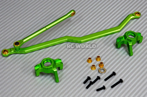 Axial Wraith, Scorpion Front ALL METAL KNUCKLES + STEERING LINK - GREEN