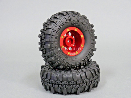 Axial RC 1/10 Scale Truck Rims Wheels 1.9 BEADLOCK Metal Aluminum Red (2 RIMS)
