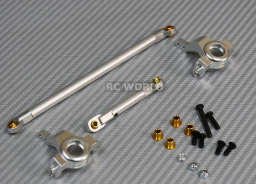 Axial SCX10 Jeep Honcho Front ALL METAL KNUCKLES + STEERING LINK - SILVER