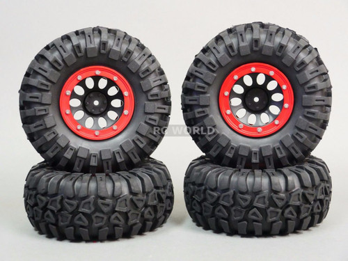 Traxxas TRX-4 Rock  CRAWLER Beadlock Wheels & TIres 130mm -Set Of 4- RED