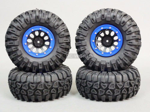 Traxxas  TRX-4 Rock CRAWLER Beadlock Wheels & TIres 130mm -Set Of 4- BLUE