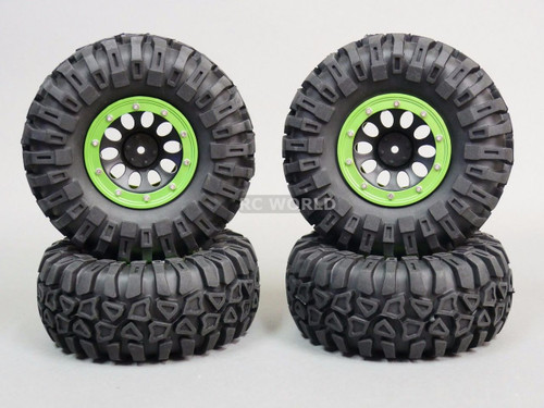 Traxxas TRX-4  Rock CRAWLER Beadlock Wheels & TIres 130mm -Set Of 4- GREEN