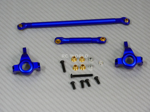 Axial SCX10 Jeep Honcho UpGraded  Front ALL METAL KNUCKLES + STEERING LINK - BLUE