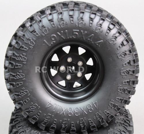 Scale RC Truck Metal 1.9 WHEELS RIMS Swamper Package W/ Spare Wheel 115mm (5pc)