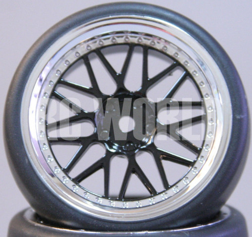 C Car 1/10 DRIFT WHEELS TIRES Package 3 MM Offset BLACK W/ CHROME Lip BBS Spoke