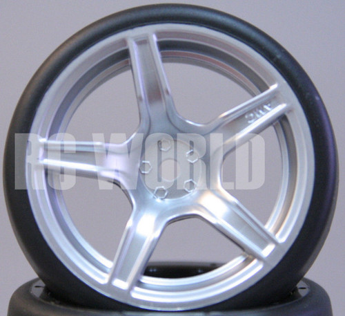 RC Car 1/10 DRIFT WHEELS TIRES Package 3 MM Offset SILVER 5 Star Rims -Set Of 4