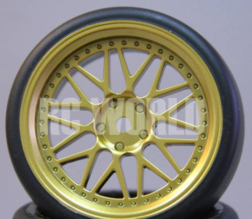 RC Car 1/10 DRIFT WHEELS TIRES Package 3 MM Offset GOLD BBS Style *SET OF 4*