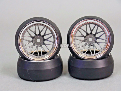 RC 1/10 DRIFT WHEELS Package 0 Degree 9 MM Offset 3 PIECE GUN METAL / CHROME Lip