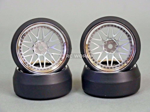 RC 1/10 DRIFT WHEELS Package 0 Degree 9 MM Offset 3 PIECE SILVER W/ CHROME Lip