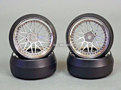 RC 1/10 DRIFT WHEELS Package 0 Degree 6 MM Offset 3 PIECE SILVER W/ CHROME Lip