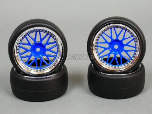 RC Car 1/10 DRIFT WHEELS TIRES Package 3 MM Offset BBS Style Rims Blue Open