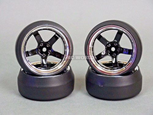 RC 1/10 DRIFT WHEELS Package 0 Degree 6 MM Offset 5 Spoke BLACK W/ CHROME LIP